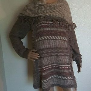 Know Rose Boho Fringe Cowl Neck Sweater